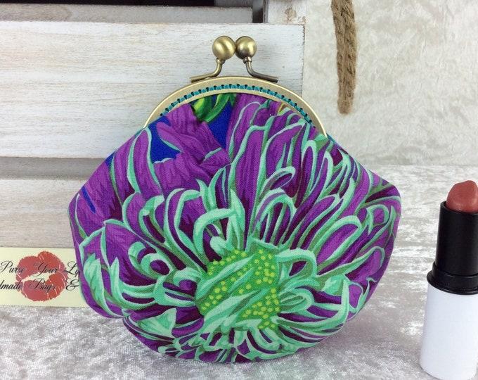 Chrysanthemums coin purse wallet fabric kiss clasp frame wallet change pouch handmade Kaffe Fassett Philip Jacobs Japanese Chrysanthemums