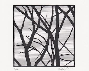 "Block print: Cherry Beach Trees - limited edition hand pulled fine art block print (6 x 6"")"
