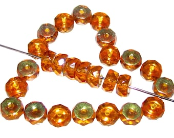 50pcs Belly Rondelles Czech Glass Faceted Beads 3x6mm, Topaz Transparent AB  (FBR023)