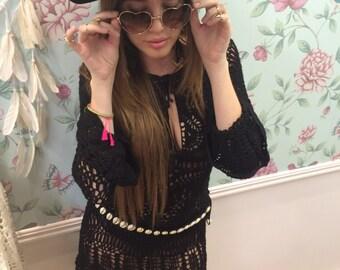 Black hand crochet felicity dress