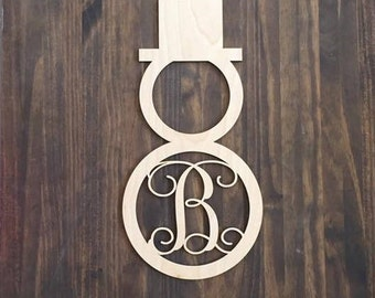 "12"" Wood Snowman Shape Single letter Curly Monogram Laser Cutout Custom Initial Unfinished"