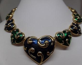 D'ORLAN Signed Spectacular Vintage Blue & Green Enamel Heart Collar Necklace
