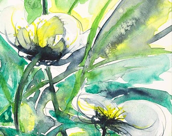 watercolor Peridot Green Yellow White Waterflowers Watercolor giclee Ready to Ship Blossoms watercolour fine art Giclee print 8x12  IN STOCK