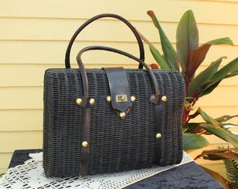 50s Vintage Oversize Basket Purse - Vintage 1950s Handbag - Pan Am Imports - Oversize Bag - Large Purse - Picnic Basket - Black Woven Purse