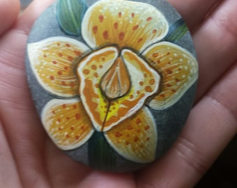 Handpainted yellow orchid