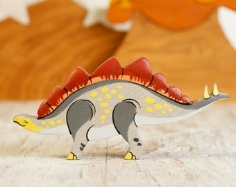 Wooden Stegosaur toy Dinosaur figures Pre-historic animals Dinosaur toys for toddlers