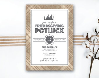 INSTANT DOWNLOAD Friendsgiving invitation / friendsgiving feast / friendsgiving potluck / simple friendsgiving / rustic friendsgiving