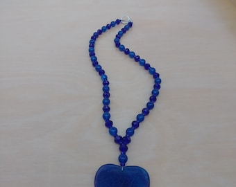 Handmade Blue Agate Heart Necklace with Sapphire Beads