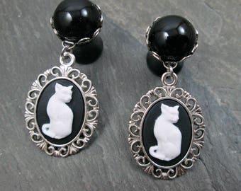 "Cat Dangle Plugs - 00g 10mm - 1/2"" 12mm - Gothic Wedding Plugs - Cat Lady Jewelry - Halloween Plug Earrings - Cat Plugs - Cat Jewelry"