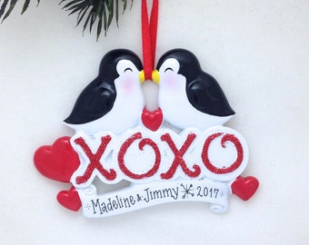Kissing Penguins XOXO Personalized Christmas Ornament / First Christmas / Couple / Anniversary / Valentines / Gift for Her