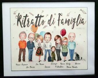 RITRATTO DI famiglia,  personalizzato,illustrazione, Custom Family Portrait,  (5+soggetti)