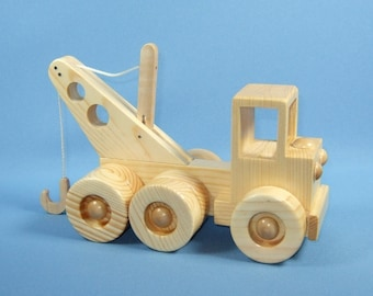 Handcrafted Wooden Toy Tow Truck