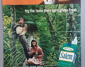"1967 Salem Cigarettes Print Ad - ""If your last cigarette had that 4 o'clock taste..."""