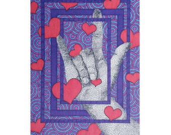 I Love You Card - Valentine's Day Card - Anniversary Card - Blank Greeting Card - Heart Stationery - Sign Language Art - Purple Card For Her