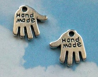 20 hand- shaped 'hand made' charms, antiqued silver tone, 13mm