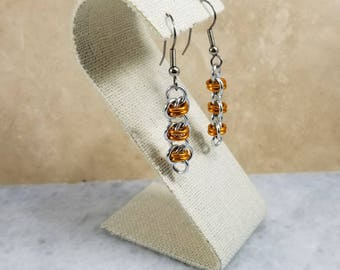 Chainmaille Barrels Orange & Silver Earrings