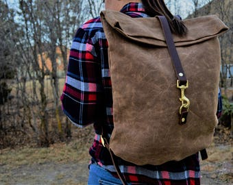 Waxed Canvas and Leather Backpack