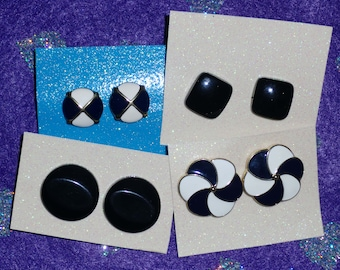 4 Pairs Black Vintage Earrings - grab bag!