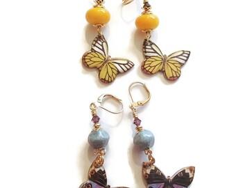 Butterfly Earrings Yellow Butterfly Earrings Blue Butterfly Earrings Spring Summer Nature Inspired E214 E215