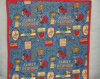 Family Reunion Teflon Back Table Topper Protect Table from hot serving dishes Bright Colors Famlly Get Together Free ship in US