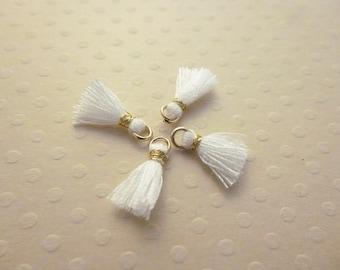 Set of 4 10mm white gold silk tassels