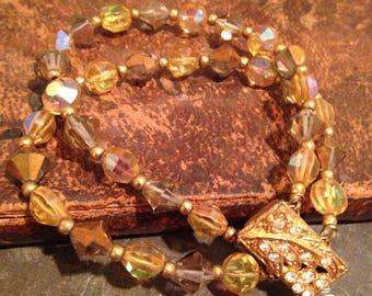 Citrine Glass Beaded Double Strand Bracelet