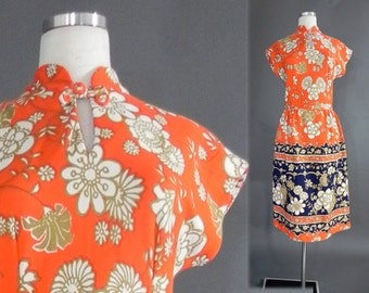 1960s Mod Dress , 60s dress , Floral Mod Neon Hippie Dress M