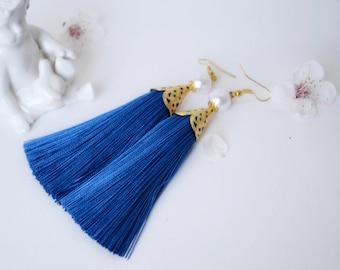 Blue long tassel earrings Luxurious tassels Trend jewelry Boho chic earrings Dangle earrings Bohemian earrings Long tassel earrings