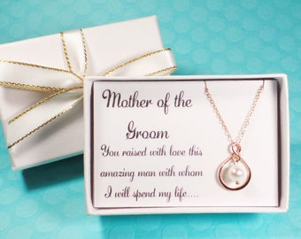 Mother of the bride gift, Mother of the groom necklace, infinity necklace, mother of the groom gift, mother of the bride necklace