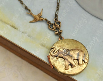 BEST OF FRIENDS baby elephant and sparrow bird vintage locket necklace antiqued brass long chain