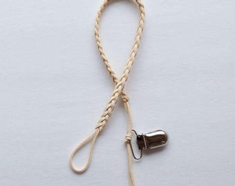 Ivory Braided Leather Pacifier Clip