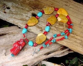Chunky Statement Red Coral Yellow Fossil Coral and Turquoise Necklace 9h132