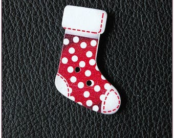 Christmas socks pattern wooden buttons 02 x 1