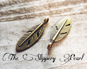 Feather Charms Pendants Antiqued Bronze Feather Charms Double Sided 10 pieces