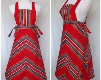 1970s Pinafore Jumper, Apron Dress, Mindy Malone, Striped Cotton, Extra Small, XS