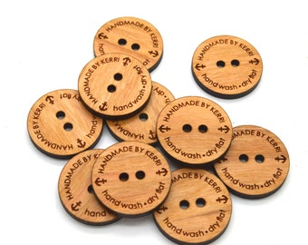 "Wooden Buttons 1"" - Ideal for crochet and knitted products - laser cut and engraved to your specifications - Dozen 1"" buttons"