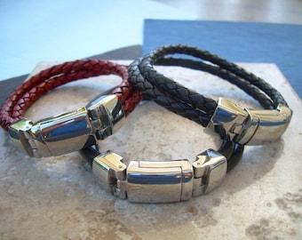 Mens Bracelet, Masculine Braided Leather Bracelet for Men,  Mens Jewelry, Leather Bracelet, Mens Gift, For Him, Leather Bracelet