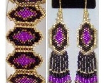 Alluring Lavender Bracelet and Earring set - Beading Pattern