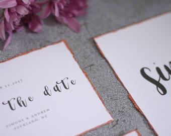 Rose Gold Deckled Edge Wedding Invitation Suite