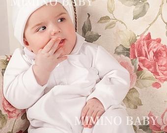 Baby Boy Christening Romper - Velvet, Boys Christening outfit, Boys Baptism outfit, Newborn romper