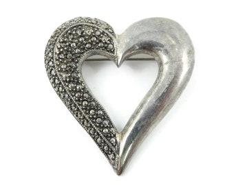 Vintage, Heart Brooch, Marcasite Look, Silver Tone