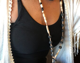 Laguna Beach leather beaded wrap necklace