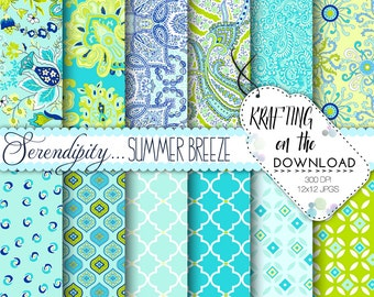 Serendipity paisley digital paper pack shabby chic aqua turquoise lime green paisley scrapbooking papers preppy paisley instant download