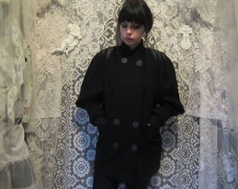 80s Black Wool and Leather Double Breasted Coat Puff Mutton Poet Sleeves Long Mid Length Jacket Post Punk New Wave Romantic Trad Goth Witchy