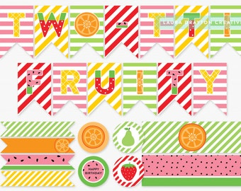 Two-tti Fruity Birthday Party Printable Set - Fruit Second Birthday Decorations - INSTANT DOWNLOAD