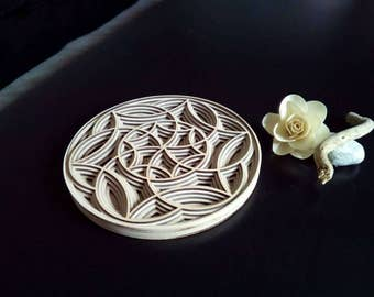 Decorative Mandala rosette in wood, layered in 3d. Laser cutting. Free shipping in Italy x areas not disadvantaged