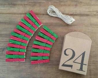 DIY Advent Calendar. Mini Clothespins. Holiday Decor. Mantle Decoration. Christmas Decor. Christmas Countdown. Christmas Advent.