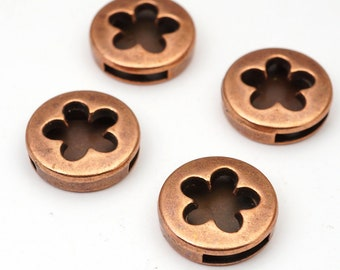 4 pcs round copper peace sign slider findings for flat leather cord, base metal, closeout, 18mm