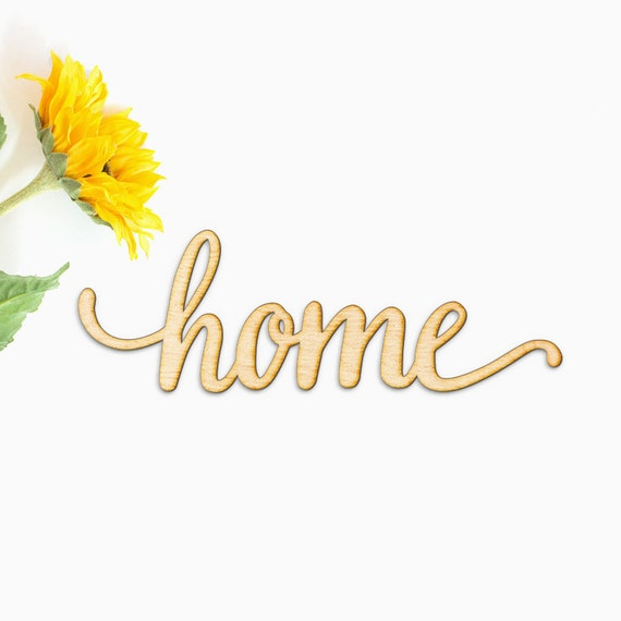 Home Script Word Wood Sign-Wood Sign Art Home Wood Sign