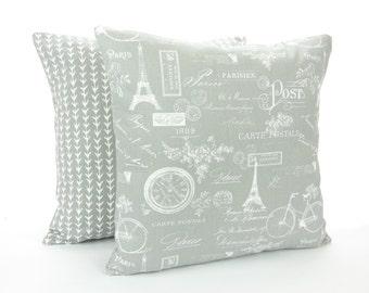 Gray Decorative Throw Pillow COVER Gray White Paris Vine Cushion Pair of Couch Sofa Pillow Bedding Euro Sham Home Decor Accent Pillow Grey